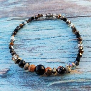 Handmade Natural Stone Earthtone Stretch Bracelet